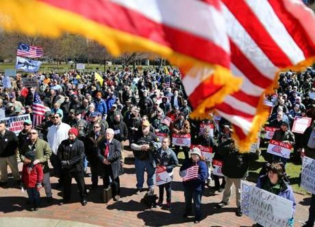 About 1,000 people attended a rally protesting gun control in Boston Wednesday.