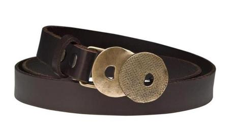 """Double Sphere"" bronze buckle on leather belt, $90, by Fran Michaels Studio, Nahant, franmichaelsstudio.com"