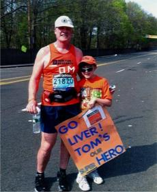 Tom Nealon and Zac Rue at last year's Boston Marathon.