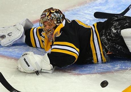 Bruins goalie Tuukka Rask, after two straight games as the backup, stopped 40 shots and earned the shutout.