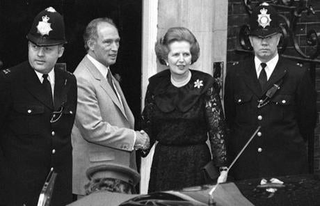 Thatcher was greeted by Canadian Prime Minister Pierre Trudeau outside 10 Downing Street in London in 1984.