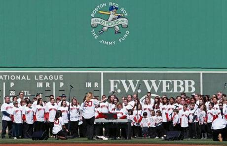The Jimmy Fund Chorus sang in the outfield before the game.