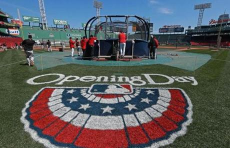 Blue skies and green grass were in abundance as the Red Sox took batting practice before the home opener against the Orioles.
