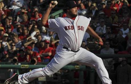 Red Sox closer Joel Hanrahan got the save after giving up a run in the ninth inning.
