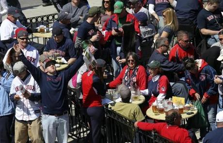 Fans enjoyed the weather on Landsdowne Street before the game.