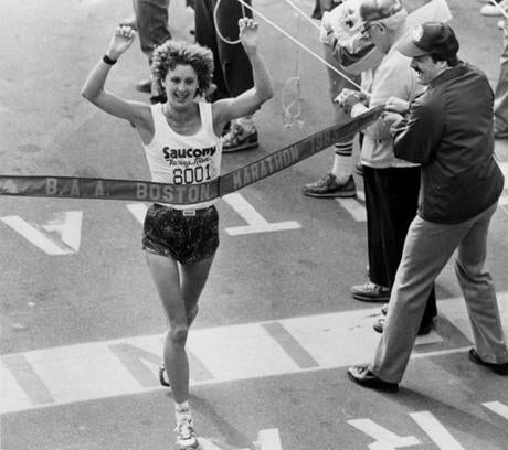 April 15, 1985: The last American woman to win the Boston Marathon, Lisa Larsen Weidenbach, crossed the finish line in 2:34:06. This was the last race to finish at the Prudential Center Plaza. John Hancock became the marathon's new sponsor and the finish line was moved down Boylston Street to Copley Square the next year.