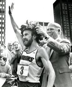 April 18, 1983: The last American male winner of the Boston Marathon, Greg Meyer, received his laurel wreath from Mayor Kevin H. White. Meyer's win in 2:09:00 was the 10th fastest in history and the third fastest in Boston.