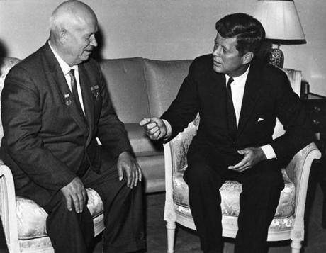 President John F. Kennedy, who ordered a US naval blockade of the island to stop Soviet ships, and Kremlin leader Nikita Khrushchev were leaders of the superpowers at the time of the crisis.