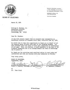 The Town of Foxborough's response to William Sheehan's resignation letter in March of 1981.