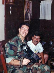 Gabriel Gomez (left) with a Peruvian special forces officer. Gomez served as a Navy SEAL.