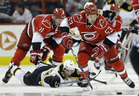 Carolina's Jeff Skinner skated up the ice as Jaromir Jagr fell during the second period.