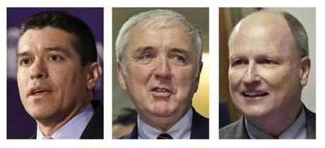 The GOP's Gabriel E. Gomez (left) outraised his primary rivals, Michael J. Sullivan (center) and Daniel B. Winslow.