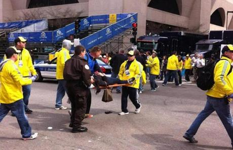 Marathon volunteers at the scene.