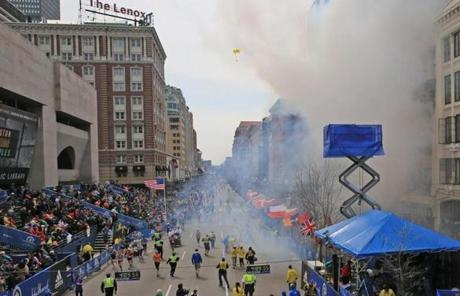 Two large explosions were reported on Boylston Street, where crowds gathered near the Boston Marathon finish line.