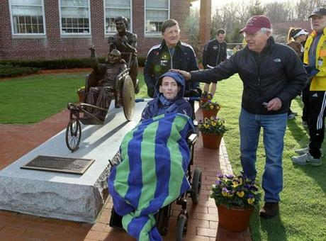 Dick and Rick Hoyt appeared near the new statue in Hopkinton today.