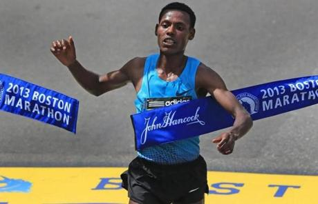 Lelisa Desisa Benti of Ethiopia won the men's division at the Boston Marathon.