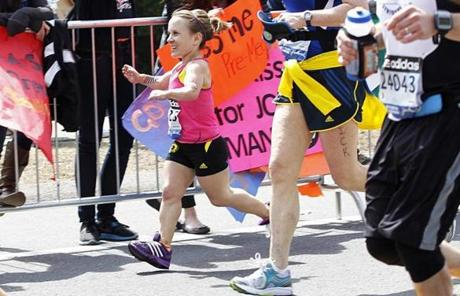 Juli Windsor, one of two dwarfs competing in the marathon, ran by Wellesley College.