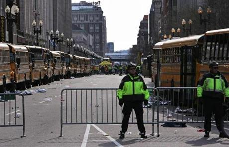School buses lined both sides of Boylston Street where the street was locked down following the explosions.