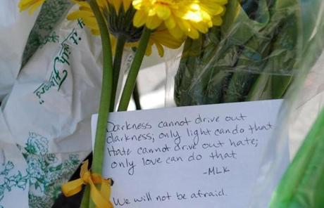 A mourner left a note quoting Dr. Martin Luther King, Jr.