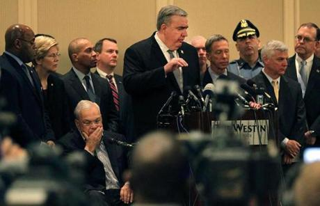 Boston Police Commissioner Edward Davis spoke along with other local and federal officials Tuesday morning.