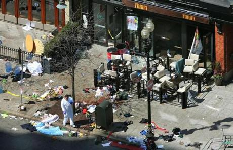 Investigators were combing through the aftermath of the deadly Boston Marathon terrorist attack Tuesday.
