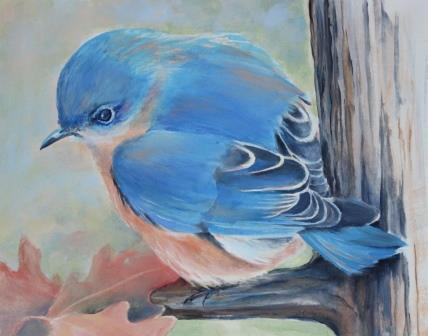 An exhibit of acrylic paintings by Janet Clingerman Hsiao is at RE/MAX Properties in Hollis, N.H., throughout April. Baby Bluebird.