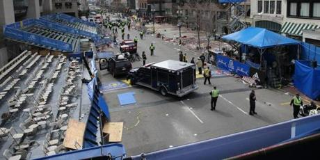 A short time later, the once-joyous finish line scene had become a crime scene under lockdown.