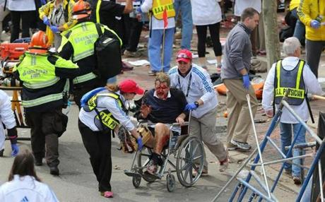 Wheelchairs that were on standby for runners who needed help at the finish line were put into use for those injured by the blasts.