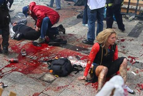 The scene along the sidewalk near the bombing was gruesome.