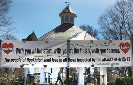 A banner in Hopkinton with a message of support for victims of the finish line bombings.