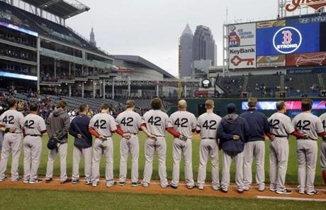 The Indians held a moment of silence with both teams along the base lines before the start of their game with the Red Sox on Tuesday.