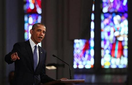 """The world will return to this great American city to run harder than ever,"" Obama said during the service. ""Bet on it!''"