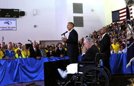 President Barack Obama spoke to Boston Athletic Association volunteers at Cathedral High School with Boston Mayor Thomas M. Menino and Governor Deval Patrick.