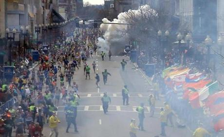 Two bombs tore through the crowd around 2:50 p.m. on Boylston Street.