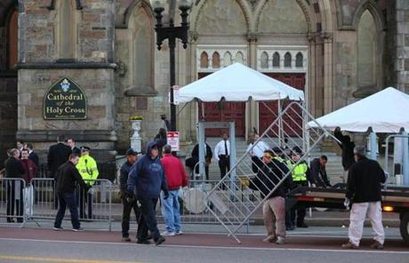 Security set up outside the South End church on Thursday morning.