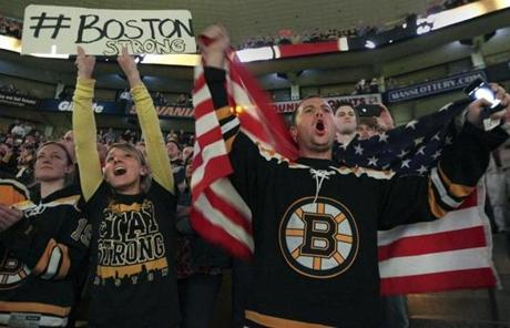 Bruins fans turned out in force and in a show of patriotism on Wednesday in the Boston's first sporting event since the Marathon attack.