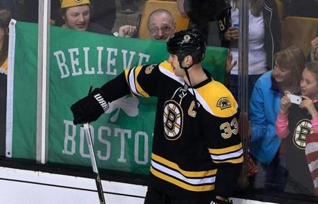 Bruins captain Zdeno Chara acknowledged a