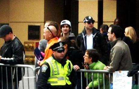 The bombing suspects are seen together Monday in this photograph at the Marathon finish line.