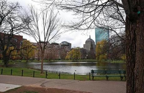 The scene at Boston Public Garden at 11:15 a.m. Friday.