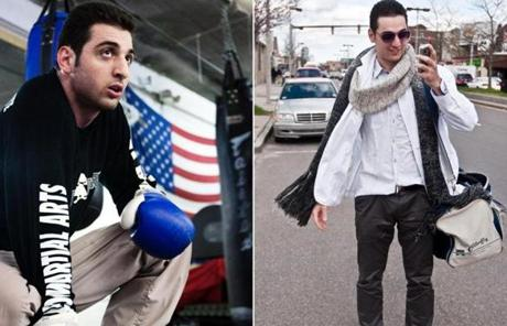 In two photos from 2009, Tamerlan Tsarnaev is shown inside the Wai Kru Mixed Martial Arts center in Boston (left) and arriving at the center (right). The suspected Marathon bomber died after a shoot-out with police Thursday night.