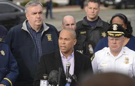 Governor  Patrick addressed members of the media during a press conference at the Watertown Mall.