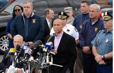 Governor Patrick and Mayor Menino conducted a press conference at Watertown Mall Friday afternoon with other officials.
