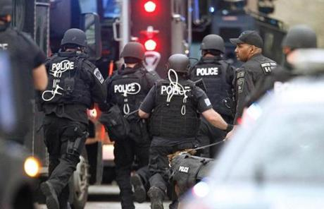 Officers ran toward an area in Watertown where the second bombing suspect was believed to be hiding.