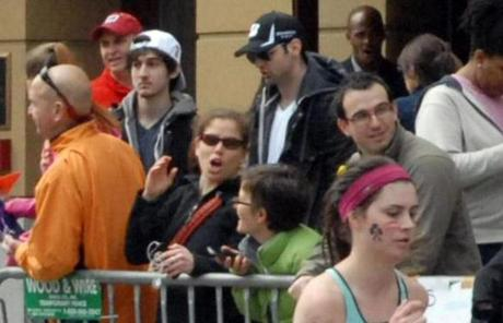 Dzhokhar A. Tsarnaev (left) and Tamerlan Tsarnaev were pictured on Boyston Streen shortly before the Boston Marathon bombings.