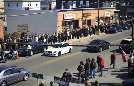 Countless mourners made a line that wrapped around the block as they waited to enter Dello Russo Funeral Home in Medford for Campbell's wake.