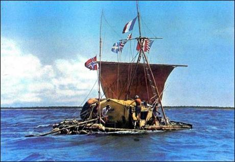 An undated file photo shows the Kon-Tiki that Norwegian explorer Thor Heyerdahl sailed from the western Peruvian coast to Polynesia in 1947.