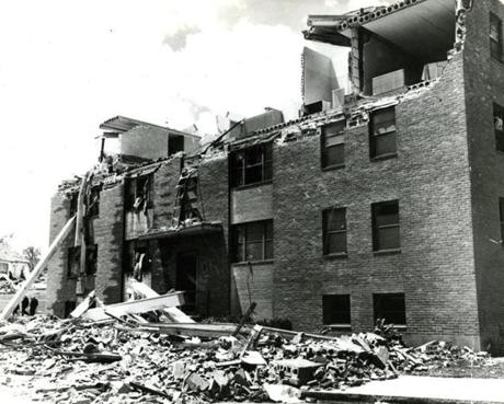 June 9, 1953: The Great Worcester Tornado tore through eight central Massachusetts communities. It left 94 dead, 1,300 injured and caused more than $52 million in damages. This brick apartment in Worcester was one of the destroyed homes.