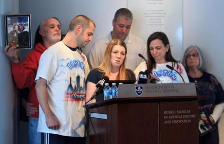 The family of Marc Fucarile, who was badly injured in the bombings, spoke at Massachusetts General Hospital Monday.