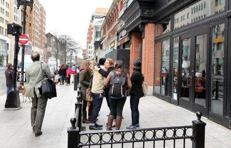 Starbucks employees gathered outside the store near where one of the Marathon bombs went off.
