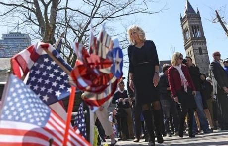 Jill Biden, the wife of Vice President Joe Biden, visited the memorial to the bombing victims in Copley Square.